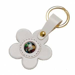 Porte-clefs cuir Notre dame de Lourdes fleur s1