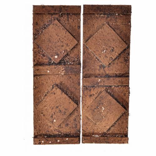 Porte en bois 2 volets crèche 12x9 cm s1