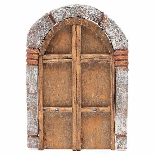 Portone ad arco in legno per presepe 22X14 cm s1