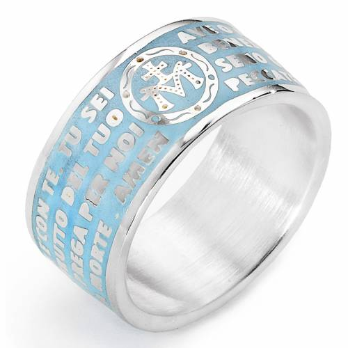 Prayer ring AMEN, Hail Mary, in light blue enamel s1