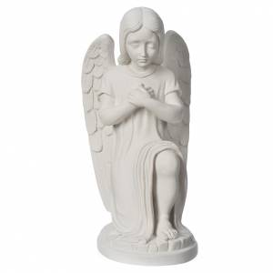 Reconstituted marble religious statues: Praying angel, left, in reconstituted white Carrara marble
