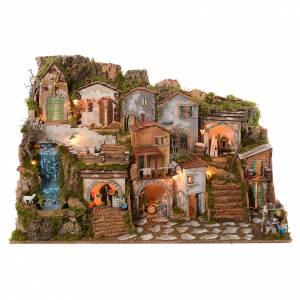 Capanne Presepe e Grotte: Presepe 70x115x70 cm luci natività pastori movimento e ruscello