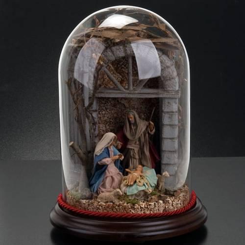 STOCK - Natività in campana di vetro h 30 cm s5