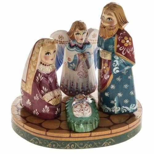 Presepe russo stilizzato legno abete con angelo s1