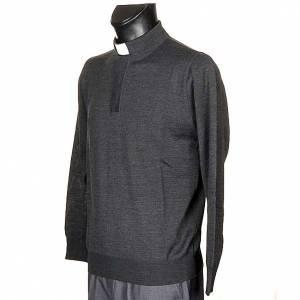 Polohemden mit Kollar: Priesterpolo Langarm dunkel grau