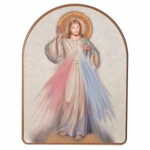 Paintings, printings, illuminated manuscripts: Print on wood, 15x20cm Merciful Jesus