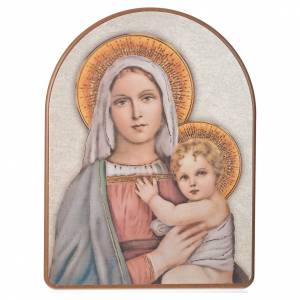 Print on wood, 15x20cm Our Lady with Baby s1