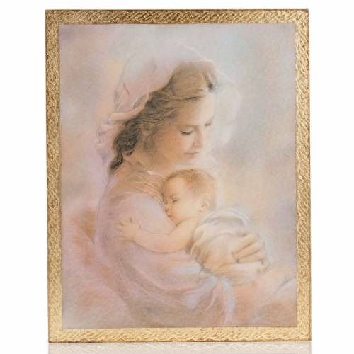 Print on wood, Our Lady with baby, R.Blanc s1