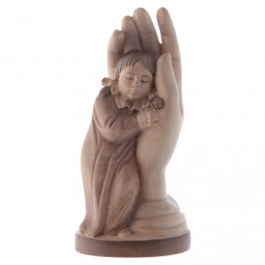 Natural wood statues and figures: Protective hand with young girl in multi-patinated Valgardena wo