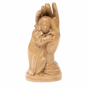 Natural wood statues and figures: Protective hand with young girl in patinated Valgardena wood