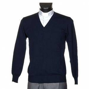 Vestes, gilets, pullovers: Pullover, ouverture en V, bleu