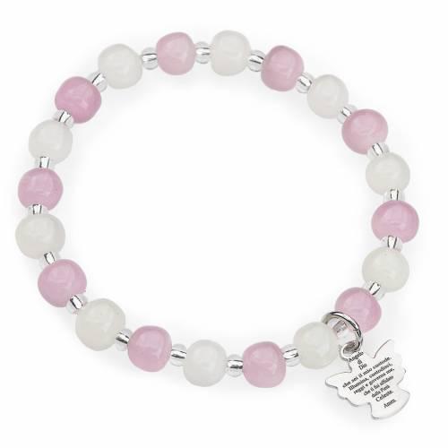 Pulsera AMEN para niños perlas de Murano rosadas blancas plata s1