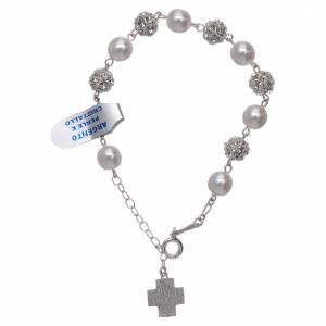 Pulsera decena strass y perlas plata 800 s2