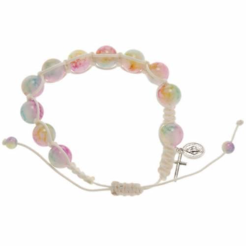 Pulsera rosario decena de perlitas multicolor y cordón s1