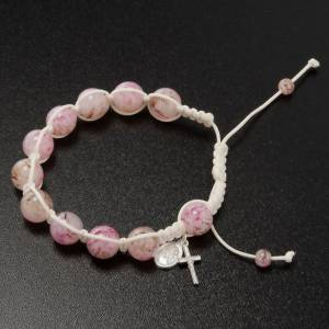 Pulsera rosario decena de perlitas rosadas y cordón s2