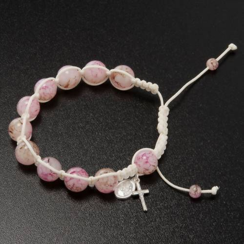 Pulsera rosario decena de perlitas rosadas y cordón 2