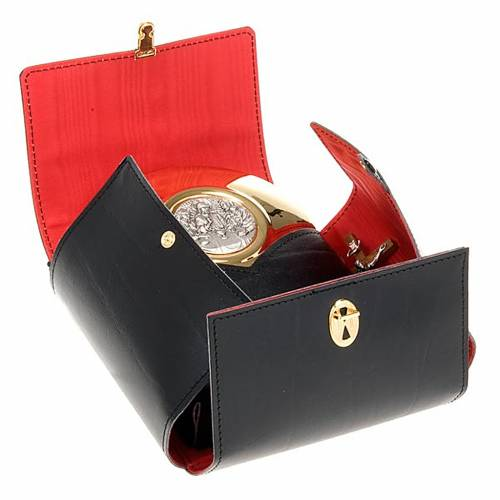 Pyx burse in leather with gold-plated pyx, 12 cm s1