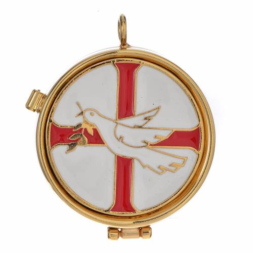 Pyx with enamel, dove and olive tree 53mm s1