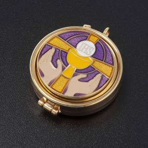 Pyx with enamel on the cover and leather burse s4