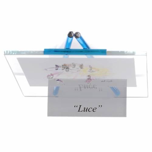 Quadretto acquerello Luce da appoggio 11x14 acquamarina s4