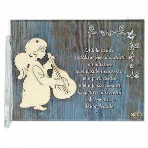 Decori natalizi per la casa: Quadretto angelo chitarra frase 8,5x10 cm