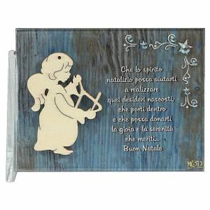 Decori natalizi per la casa: Quadretto angelo con triangolo frase 8,5x10 cm