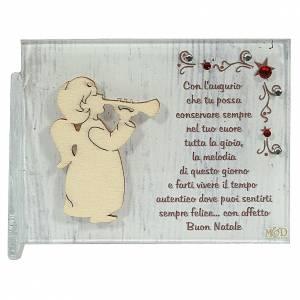 Decori natalizi per la casa: Quadretto angelo con tromba augurio 8,5x10 cm