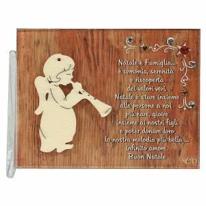 Decori natalizi per la casa: Quadretto angelo flauto augurio 8,5x10 cm