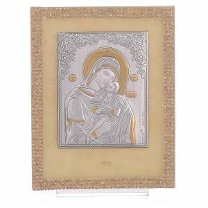 Bomboniere e ricordini: Quadretto Maternità ortodosso Swarovski Oro 14x11 cm