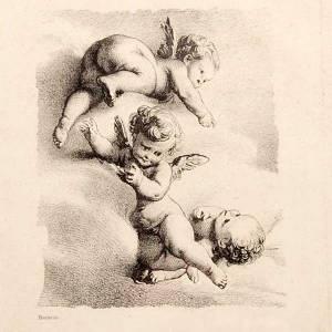 Quadri, stampe, codici miniati: Angeli  su nuvola stampa Firenze