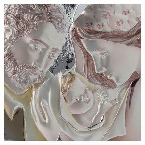 Quadro capoletto S. Famiglia argento colorato e legno stondato s2