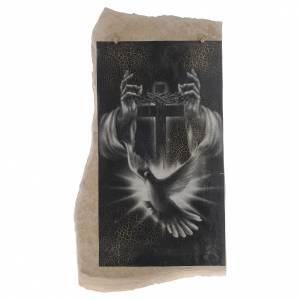 Quadro croce nera bianca Spirito Santo in pietra di Medjugorje s1
