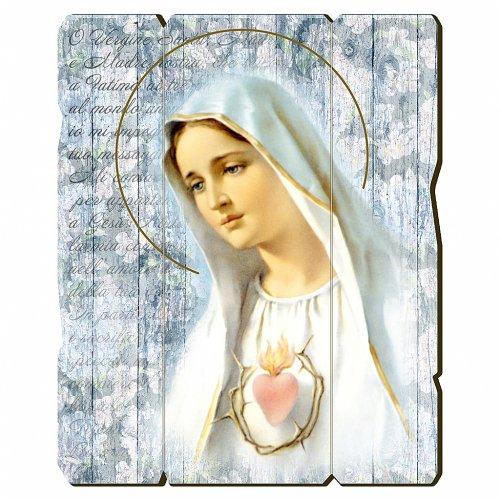 Quadro in Legno Sagomato gancio retro della Madonna Fatima 35x30 s1