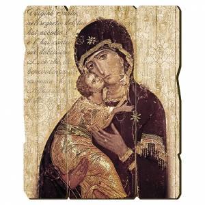 Quadro in Legno Sagomato gancio retro Icona Madonna di Vladimir 35x30 s1