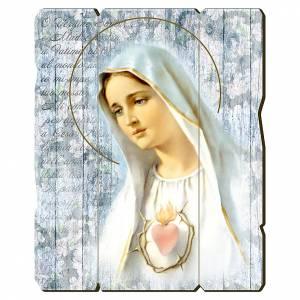 Quadro in Legno Sagomato gancio retro Madonna Fatima 35x30 s1