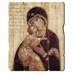 Quadro legno sagomato gancio retro Icona della Madonna di Vladimir s1