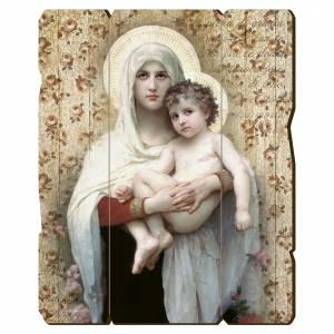 Quadro legno sagomato gancio retro Madonna Bambino di Bouguereau s1