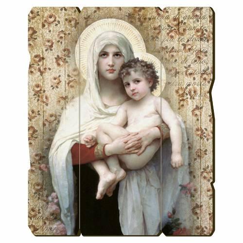 Quadro legno sagomato gancio retro Madonna Bambino di Bouguereau 1