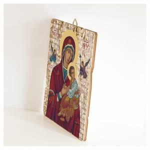 Quadro legno sagomato gancio retro Madonna del Perpetuo Soccorso s2