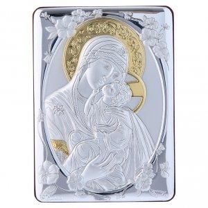 Quadro Madonna della Tenerezza bilaminato retro legno pregiato rifiniture oro 14X10 cm s1