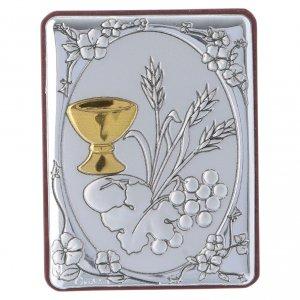 Quadro spiga grano calice uva in alluminio retro legno e rosario perle in vetro s1