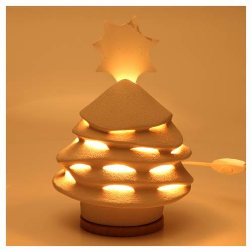 Árbol de Navidad Cerámica Centro Ave 38 cm arcilla iluminado s2