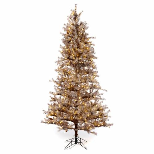 Rbol de navidad marr n 230 cm escarchado pi as y 400 - Arbol navidad led ...