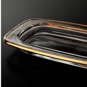 Rectangular glass cruet tray 20x9.5 cm with golden edge s2