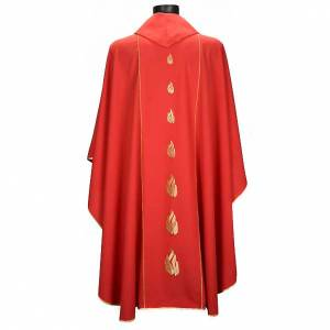 Chasubles: Red chasuble with Holy Spirit and blazes