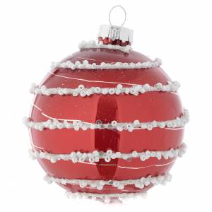 Christmas balls: Red Christmas bauble in glass with decoration, 70mm diameter