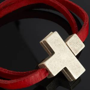 Religious bracelet in leather with zamak cross lenght 34 cm s5
