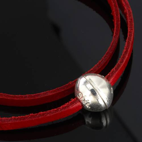 Religious bracelet in leather with zamak sphere lenght 39 cm s5