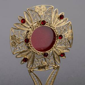 Reliquary in 800 silver filigree with red stones s3