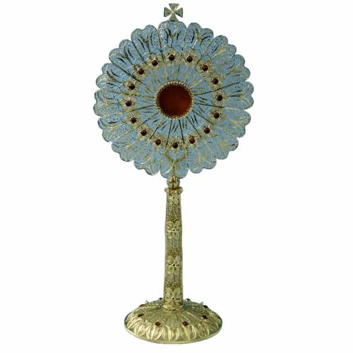 Reliquary in silver 800 filigree with strass, 30 cm s1